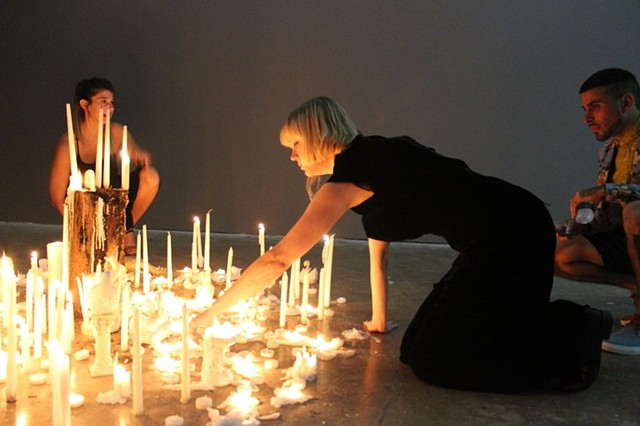 Lighting candles for Project Room installation, Primary Projects