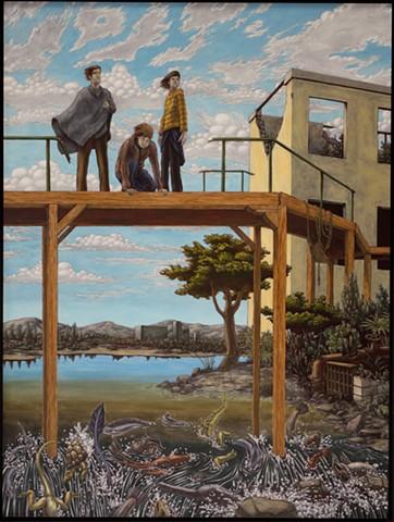 painting, animals, post-apocalyptic, oil on panel, danube school, altdorfer