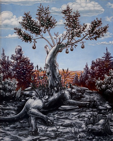 painting, tree, tiger, flowers, mische, danube school, renaissance, oil painting