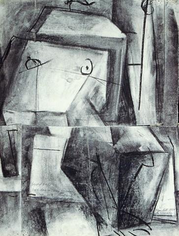 Seated Nude, with Hofmann markings & tears 1954
