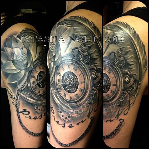 Clock Tattoo Flower Black And Gray Grey Shoulder Sleeve