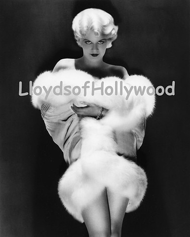 JEAN HARLOW IN WHITE FUR BLONDE GLAMOUR MOVIE STAR PHOTOGRAPH