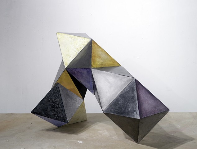 "second view Geometric abstract sculpture ""Altered Polyhedra I"" 2015"