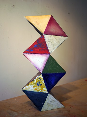 Geometric abstract sculpture oil&encaustic on wood