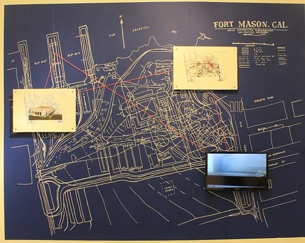 fort mason, collapsing, landscape, colliding, history, site-specifc, installation, blueprint, herbst pavilion