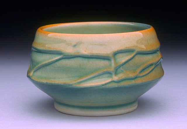 Slip Trailed Celadon Teabowl