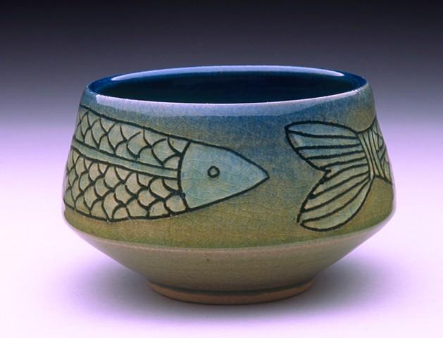 Celadon Fish Teabowl 1
