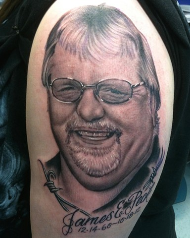 Ron Meyers Dad Portrait Tattoo