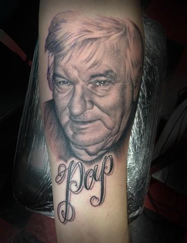 Ron Meyers Pap Portrait tattoo