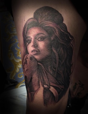 Ron Meyers Amy Winehouse Portrait Tattoo