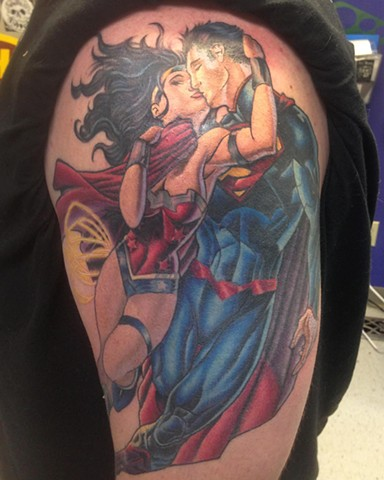 Ron Meyers - Superman/Wonder Woman Tattoo