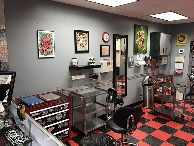 Low Lock Tattoo Studio View of some of the work areas
