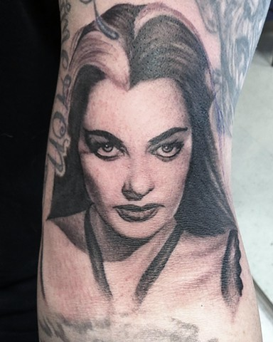 Ron Meyers Lily Munster Portrait Tattoo