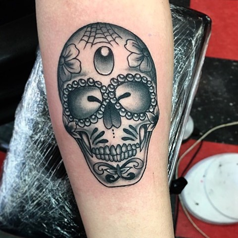Mackenzie Meyers - Black & Grey neotraditional sugar skull tattoo