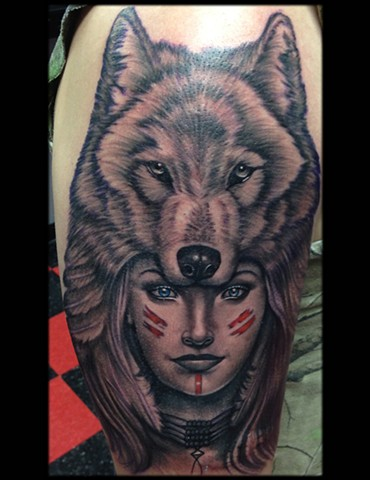 Ron Meyers - Indian Girl W/Wolf Headdress Tattoo
