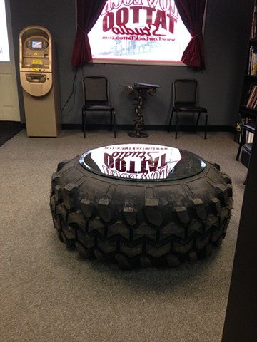 Low Lock Tattoo Studio Lobby with 44 inch Super Swamper Coffee Table