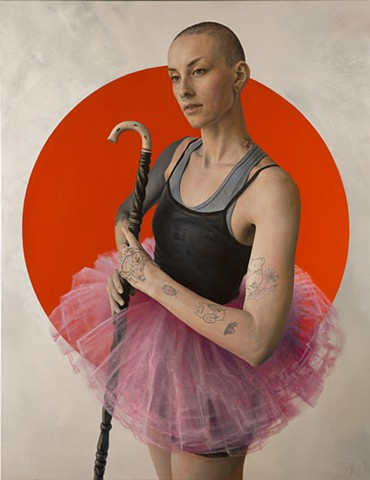 ballet , tattoos ,Nefertiti ,figurative , ballerina , oil painting , woman , Fine Art , Joe Coffey