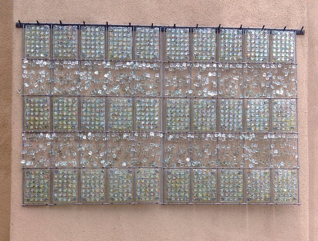 fused glass panels arranged in a grid