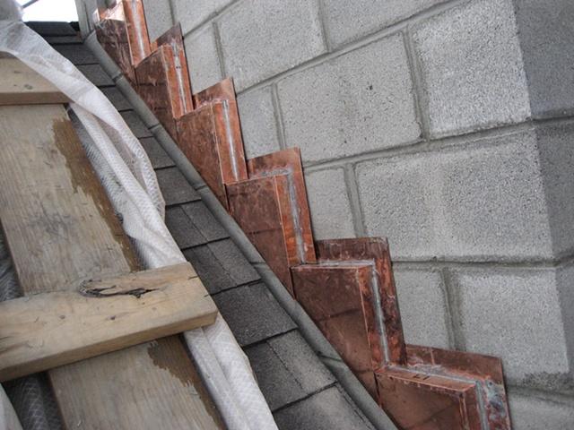Custom-Copper Step Flashing for Veneer Stonework