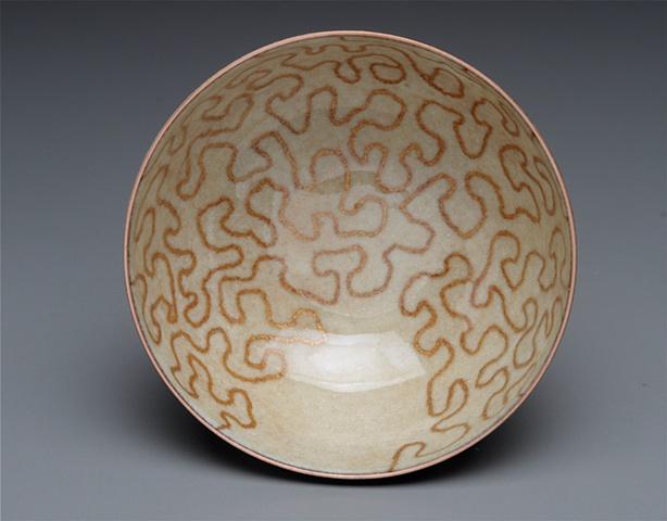 Copper enameled bowl.