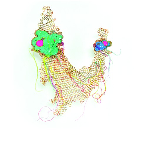 Contemporary Armor, Brooch, Powder Coat, Embroidery Thread,