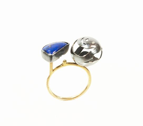 lapis, ring, art jewelry neta ron gold 14k gold
