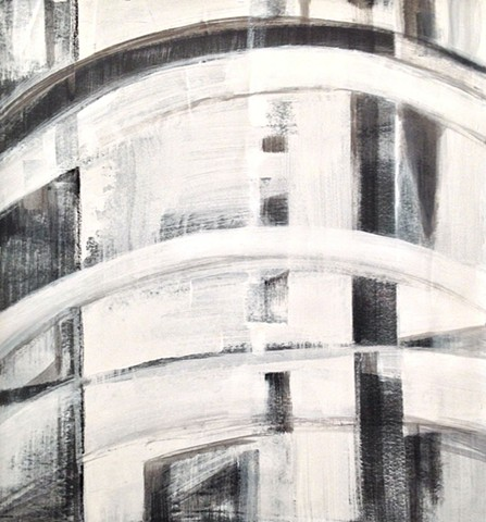 Abstract painting architectural black white texture organic landscape sculptural