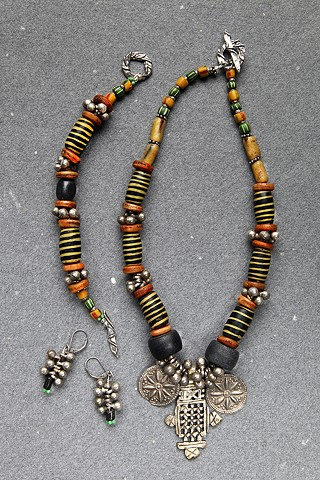 African trade beads, necklace, old beads, chevrons, old silver balls, bumble bee beads