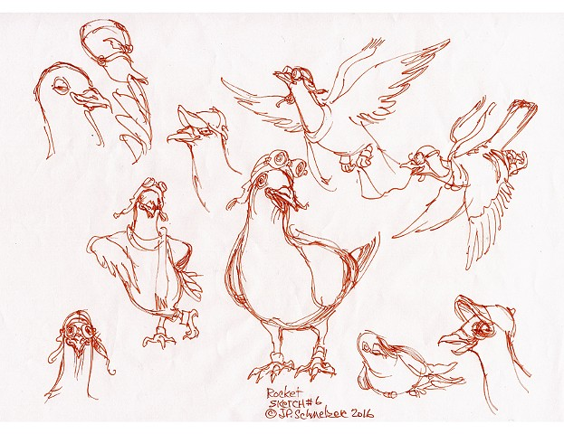 Rocket Pigeon preliminary drawing #6