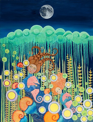 motherhood, seahorse, moon, seaweed, flowers, braids, snails, ocean, night