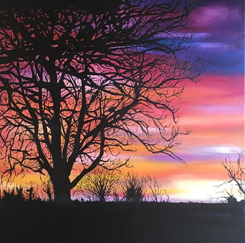 Tree silhouette oil painting Herefordshire sunset