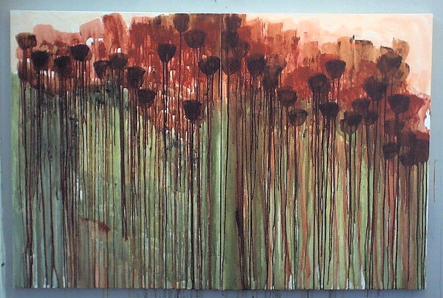 """Poppies"" diptych (40"" x x 30"" each)"