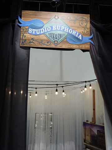Studio Euphoria entrance, circus, lights, SOMArts