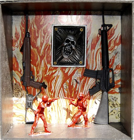 Artist Jigoku Zoshi print background, guns, army men, screaming skull