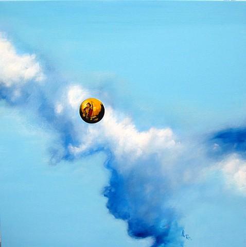 blue sky alex rios painting globe woman