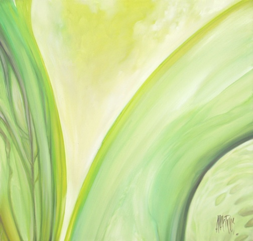 green oil painting abstract alex rios