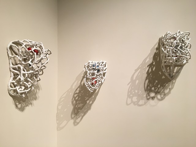 wall Installation Series, Stoneware and Found Objects
