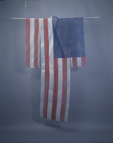 Flag Kimono, Kristine Aono, sculpture, kimono series, Japanese American