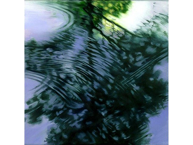 Reflection of pine tree in evening