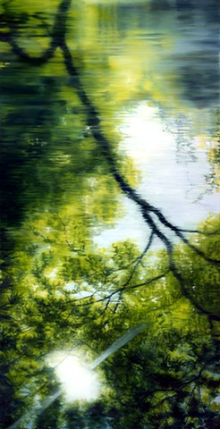 Painting of a tree, reflected in water, in all of it's imagined former splendor