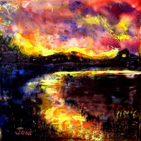 encaustic landscape, sunset, marsh, marsh view