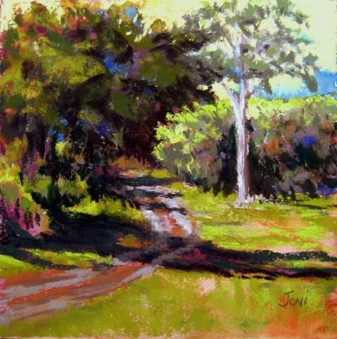 pastel landscape, path in th woods