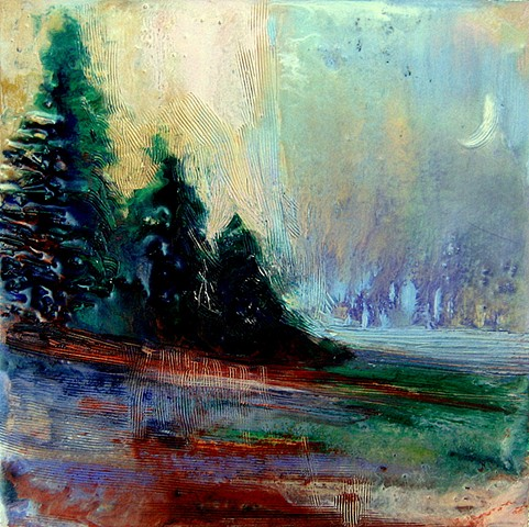 encaustic landscape, moonrise, lake, pine trees