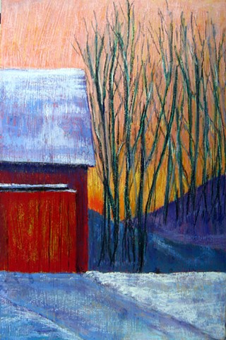 pastel landscape, winter barn, snow, sunset