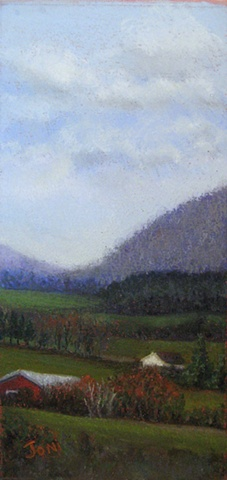 pastel painting, berkshires, hill towns, western massachusetts, fall landscape