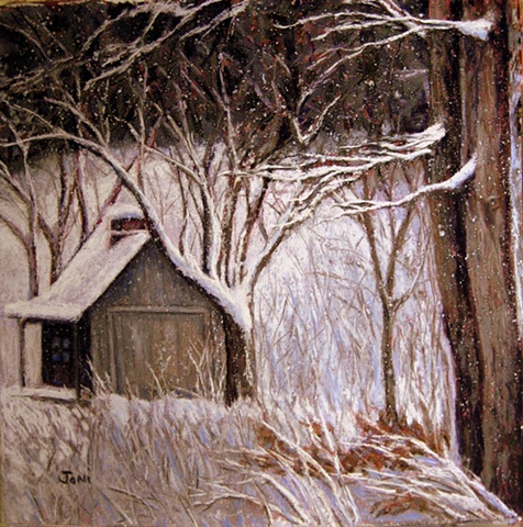 pastel painting of a cabin in the woods with snow falling
