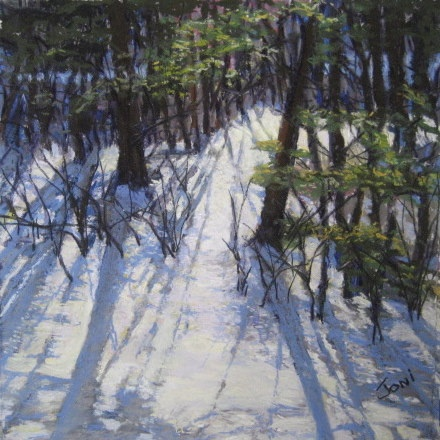 winter snow scene, soft pastel, landscape painting