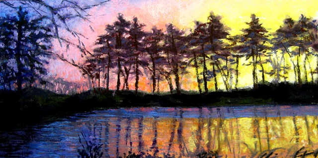pastel landscape, sunset, trees silhouette, pond reflections