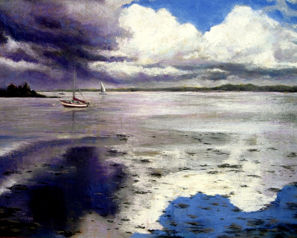 pastel landscape painting of Kinvarra Harbor, Ireland