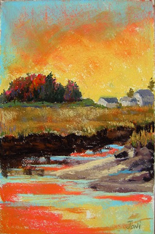 pastel landscape, scorton creek, yellow sky